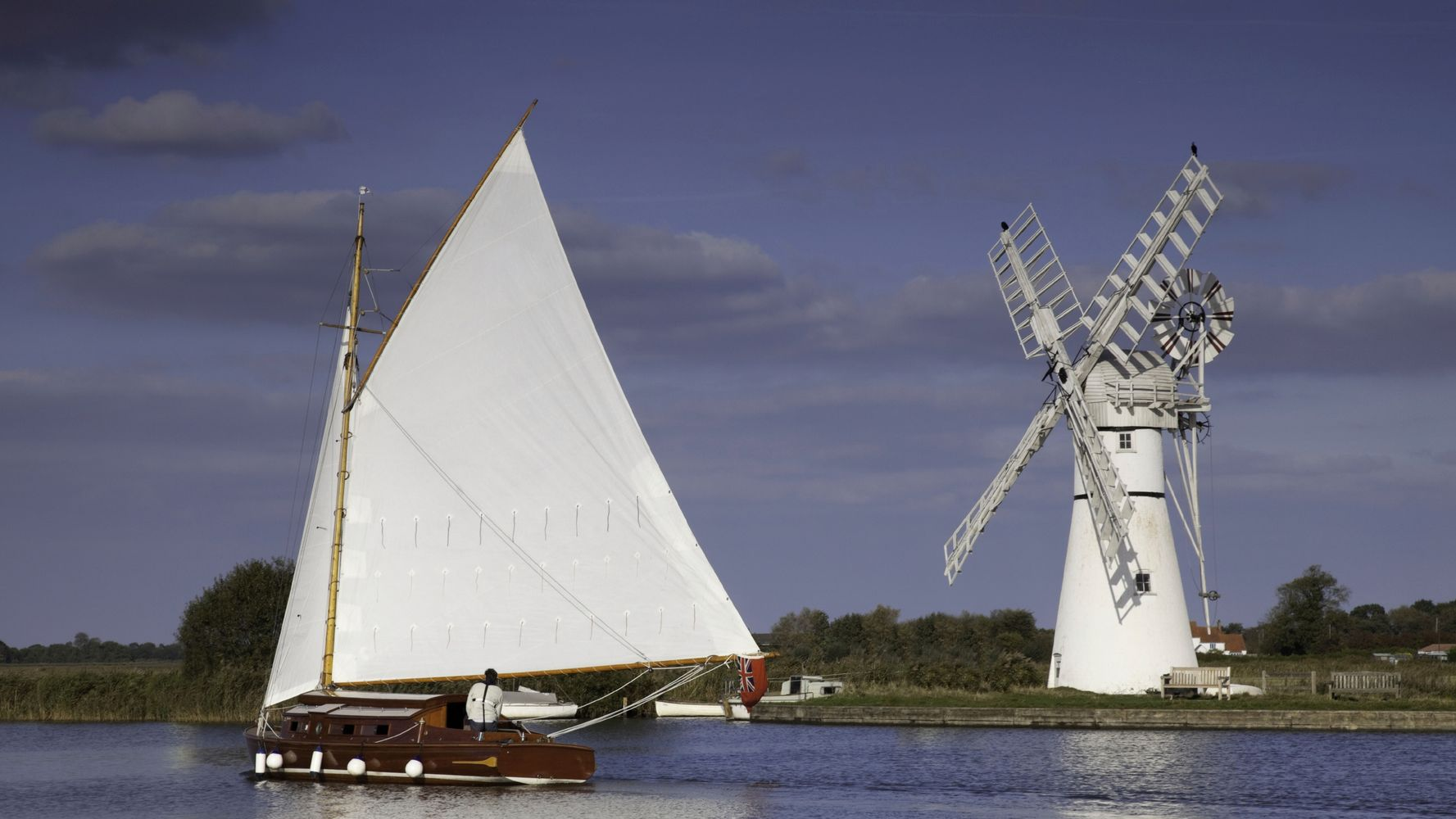 Classic Norfolk Broads Sailing Boat & Mill